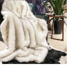 NEW Luxury Upscale Fox Fur Throw Soft Warm Bedspread Blanket FULL White Decorate