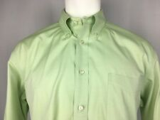 Lands' End Lime Green Button-Down 100% Cotton Dress Shirt 16.5 x 33