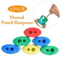 6Pcs Double Hole Manual Pencil Sharpener Stationery Office School Stationery
