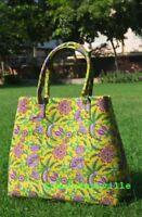 Indian Mandala Handbag Cotton Women Satchel Purse Lady Tote Bag Block Printed