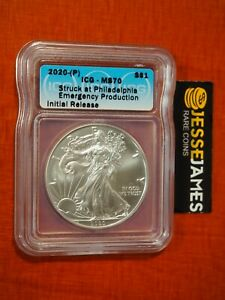 2020 (P) SILVER EAGLE ICG MS70 EMERGENCY ISSUE STRUCK AT PHILADELPHIA MINT LABEL