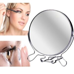 """5"""" FREE STANDING MIRROR Small Round Double Two Sided Fold Away 2 x Magnification"""
