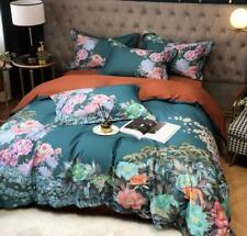 Yellow Silky Egyptian Cotton Flowers Duvet Cover Bedding Set 4 pcs Queen King UK