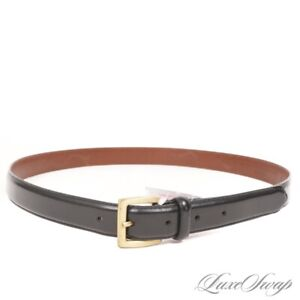 Coach Hand Polished Cowhide Leather Skinny Black Brass Buckle Dress Belt 38 #3
