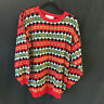 Vintage Croquet Sweater Pullover M Womens Red Green Christmas