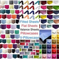 Percale Fitted, Flat, Valance Bed Sheets, Pillowcases, V-Pillowcase Cotton Blend