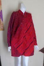 NWT B Jane Doub Sz L XL Rich Red Purple Hand-Woven Fiber Art-to-Wear Coat Jacket