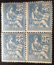 France 1900 Block Of 4 25 Cent Blue Stamps Mint Hinged