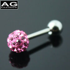 A single Orchid cubic snow ball barbell earring stud piercing 18g US SELLER