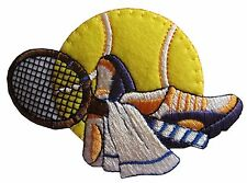 """#3227 3-3/4"""" Tennis Ball/Shoe/Towels/Tennis Racket Embroidery Applique Patch"""