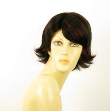 perruque femme 100% cheveux naturel courte méchée noir/rouge EMILIE 1b410