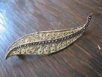 hauchfeine Art Deco Markasit Brosche elegante Blatt Form 835er Silber vergoldet