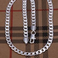 ASAMO Herren Panzerkette Halskette 6mm 925 Sterling Silber plattiert Kette