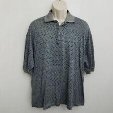 Como Sport Mens Vintage Polo Shirt XXL Blue Geometric Short Sleeve Cotton Italy