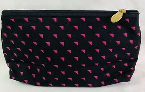 MARY KAY BLACK W Pink hearts SMALL COSMETICS / MAKE-UP BAG POUCH WITH Gold LOGO