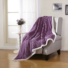 Ultra Plush Reversible Ribbed Sherpa Throw Blanket - Assorted Colors