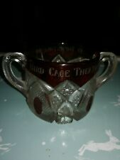 Very Unusual Ruby/Clear Pressed Glass Bird Cage Theatre Tombstone 1900 Glass...