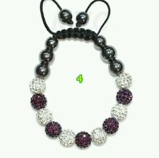 CRYSTAL BRACELET SHAMBALLA PURPEL AND WHITE WEDDING PROM BIRTHDAY mum bridel