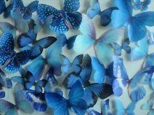 30 Blue Edible Butterflies Assorted Set - Cake Decorations, Cupcake Topper