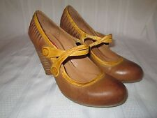 MIZ MOOZ Sensei Womens 6 Tan Yellow Leathr High Block Heel Mary Jane Pumps Shoes