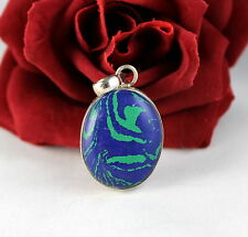 Sterling Silver Blue & Green 13g Pendant Cat Rescue