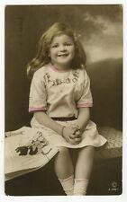 c 1910 Children Child SMILING LITTLE GIRL antique photo postcard