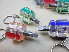 (Qty 3) Stubby screwdriver keychains (full sized flathead tips)