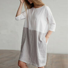 2018 Women Cotton Linen 3/4 Sleeve Loose Oversized Pockets Dress Tunic Plus Size