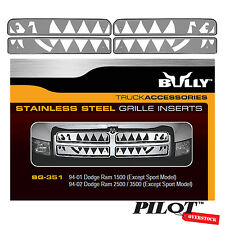 Bully Stainless Steel Grille - 1994-2001 Dodge Ram 1500 2500 3500 W/O Sport
