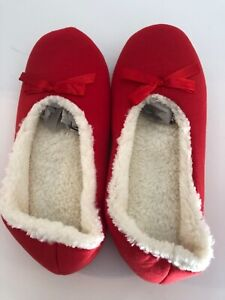 Womens  Bow Slippers Red, M