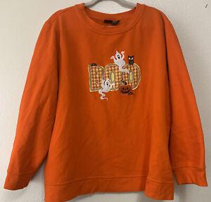 Happy Halloween embroidered crewneck  BOO sweatshirt   3X Orange Pull Over Hal