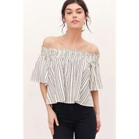 Urban Outfitters Kimchi Blue Smocked Stripe Off The Shoulder Crop Top Size Small