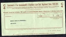 Issued 1937 Australian Government Stock Certificate. 1939-41 C4