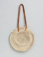 Large Round French Market Beach Basket Leather Tote Shopper Holiday Bag Storage