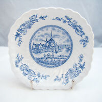 Johnson Brothers Ironstone England TULIP TIME BLUE Square Cereal Bowl(s) EXC