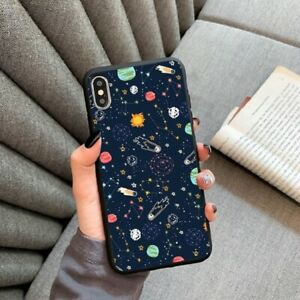 Case For iPhone 11 Stars Moon Spaceship Soft Silicone Matte cover