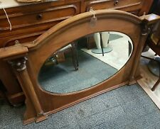 Antique stripped Pine overmantle mirror