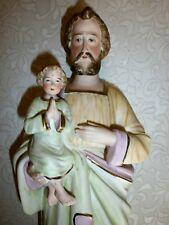 ANCIENNE STATUE RELIGIEUSE: SAINT JOSEPH ET JESUS/BISCUIT/N°1619/XXè/H.40,5 cm