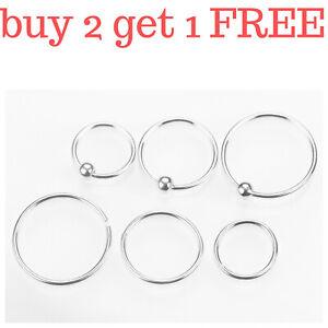 Sterling Silver Nose Ring Hoop Thin Tragus Helix Ear Lip Septum Piercing Nipple
