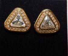 "S.A.L. Swarovski Trillion Crystal Triangle stone 3/4"" Pierced Earrings 10d 118"