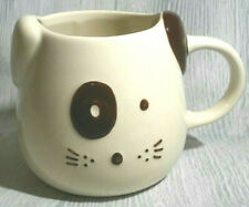 "Cat Kitty Face Mug Big 22 oz Cup, White Brown Eye Ring, Ear WORLD MARKET 4"" NEW"