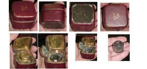 ANTIQUE TRAVELING INKWELL MAROON LEATHER ORNATE BRASS GLASS INSERT VERY NICE