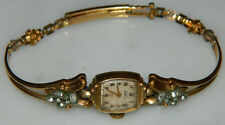 Vintage Deco 1930's? ELGIN DeLuxe Ladies faux Diamond 10K GF Watch Not Working