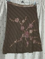 Per Una ~ Lined, Embroidered Brown Cotton Skirt ~ Size 18r ~ NWT ~ *£45.00