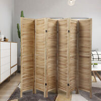 6 Panel Privacy Folding Screen 6ft Wood Room Divider Freestanding Home Decor
