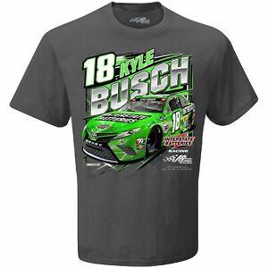 Kyle Busch Interstate Batteries Checkered Flag Qualifying Gray Tee Adult XXL