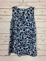 J.Jill Pure Women's M Medium White Navy Floral Sleeveless Summer Top Tank Blouse