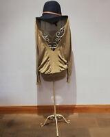 Ladies Womens Girl Mango Size 10 Gold Glittery Sparkly Jumper Dress Festive Xmas