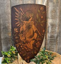 Antique German Large Wood Shield with Winged Cherub Angel and Horn