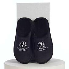 BALENCIAGA 550$ Men's Soft Mule Slipper In Black Velours & White Logo Embroidery